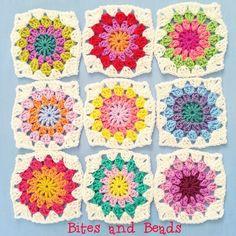 Crochet granny circles/squares - @bitesandbeads on Instagram