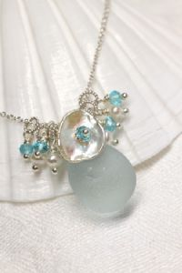 Rare Sea Glass Jewelry with Gemstones and Pearls by Katie Carrin