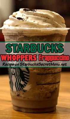 This taste-a-like Starbucks Whoppers Frappuccino mimics the sweet malty flavor of Whoppers, with loads of chocolate flavor! Frappuccino Recipe, Starbucks Frappuccino, Starbucks Coffee, Starbucks Smoothie, Coffee Cafe, Coffee Drink Recipes, Tea Recipes, Blended Coffee Drinks, Starbucks Recipes