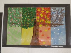 Four season tree by a second grader. (My second graders apparently do not know what a tree looks like. Wish my four seasons pick looked ANYTHING like this) PS great idea for second grade it aligns with their science curriculum Classroom Art Projects, School Art Projects, Art Classroom, First Grade Art, 2nd Grade Art, Grade 2, Four Seasons Art, Ecole Art, Kindergarten Art