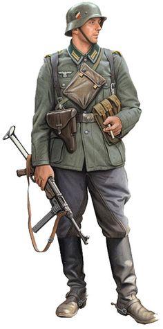 WEHRMACHT - Reiter der Kavalerie, 1943 More Military Figures, Military Diorama, Military Art, Military History, Ww2 Uniforms, German Uniforms, Military Uniforms, German Soldiers Ww2, German Army