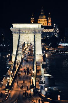 "Budapest at night at festival time, when the Széchenyi Chain Bridge ""goes pedestrian"""