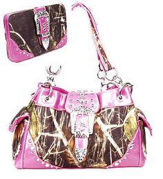 Pink Camo Camouflage Rhinestone Buckle Western Purse Handbag Wallet   eBay
