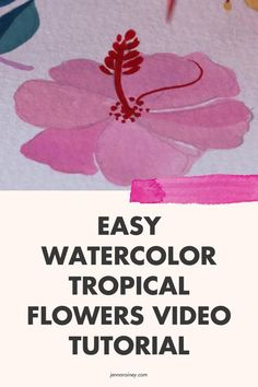 Watercolor tropical leaves tutorial video. There's something about tropical leaves, flowers, and fruit that is SO fun to paint. —In any case, I decided to try painting tropical foliage with my new obsession—adding white gouache to watercolor! Have you tried it? If not, hit play on this video and give it a whirl. Tropical Leaves, Tropical Plants, Tropical Flowers, Step By Step Watercolor, Easy Watercolor, Pretty Flowers, Yellow Flowers, White Gouache, Happy Little Trees