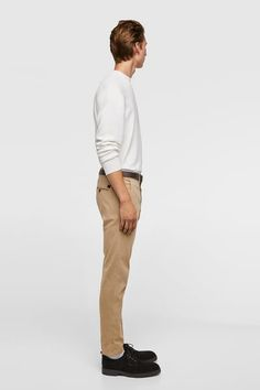 b781e344 BASIC BELTED CHINO PANTS - Item available in more colors Men Trousers, Khaki  Pants,
