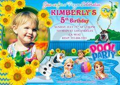 Frozen Fever Pool Party, Frozen Pool Party, Frozen invitation, Frozen Summer invitation by BogdanDesign
