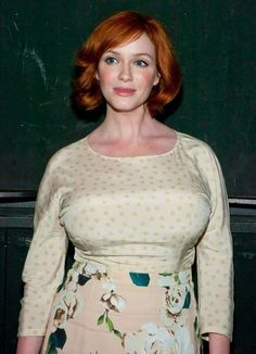 Christina Hendricks hot sexy bosomy casual photo in a stretched tight print blouse and short curled bob hairstyle, star of Firefly as Saffron, and Mad Men as Joan P. Holloway, a modern classic beauty. Christina Hendricks, Beautiful Celebrities, Beautiful Women, Cleavage Hot, Beautiful Christina, Voluptuous Women, Pretty Woman, Sexy Women, Women Legs