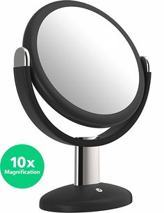Vremi 10x Magnified Vanity Mirror - 7 Inch Round Makeup Cosmetic Mirror for Bathroom or Bedroom Table Top - Portable Double Sided Glass Mirror Stand with 360 Degree Swivel - Black