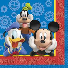 Create a Mickey Mouse themed birthday party! Includes 16 beverage napkins. Measures 10 in x 10 in (25.4 cm x 25.4 cm).