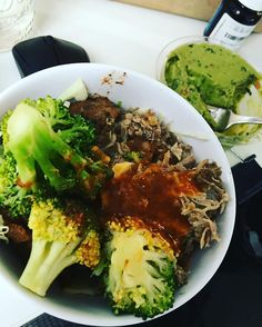 Carnitas broccoli And cabbage from Whole Foods - salsa by Trader Joe's organic guacamole from CostCo. Ending a 17 hour fast. #keto #jerf #lowcarb #california