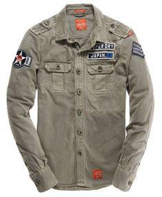Mens - Delta Shirt in Flatland Grey | Superdry: