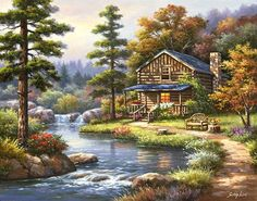 Woodland scene art on tile-Mountain Creek Cabin-Tile Mural - barbara Pictures To Paint, Art Pictures, Beautiful Paintings, Beautiful Landscapes, Landscape Art, Landscape Paintings, Belle Image Nature, Beautiful Places, Beautiful Pictures