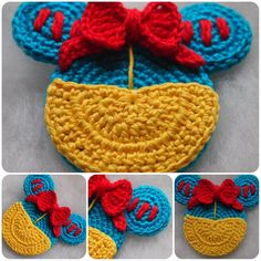 My Ruth loves Snow White. Ruth says that Snow White Mouse is very sweet. Crochet Crafts, Yarn Crafts, Crochet Projects, Crochet Ideas, Free Crochet, Diy Crafts, Disney Crochet Patterns, Crochet Disney, Crochet Garland