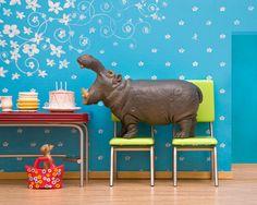 This little shop of imaginative prints slayed me.  hippo art diorama retro kitchen blue birthday  by WildLifePrints, $20.00