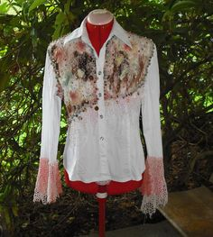 Long Sleeve Blouse with Lace Beads Embroidery Sequins by SuVasi, $16.00