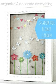 Shadow Box Flower Garden - Cute spring or Easter home decor idea!