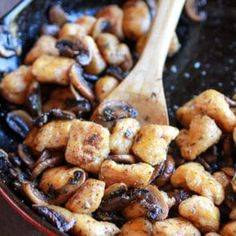 Crispy Brown Butter Sweet Potato Gnocchi with Balsamic Caramelized Mushrooms + Goat Cheese + VIDEO. 16 Bars, Sweet Potato Gnocchi, Stuffed Mushrooms, Stuffed Peppers, Half Baked Harvest, Salted Butter, Brown Butter, The Fresh, Skillet