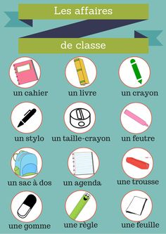 Les affaires de classe French Grammar, French Lessons, Learn French, Language, Teaching, Activities, School, Pixel, Alphabet