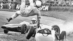 1963 Formula 1 Brabham-Climax BT7 Ejects Driver As Car Spins Off Track