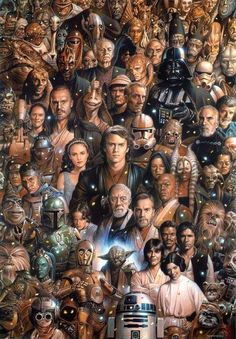 Almost every important character in the Star Wars Movies to appear. Star Wars will forever be my favorite series. I dont mind jar jar Star Wars Love, Star Trek, Star War 3, Star Wars Art, Star Wars Poster, Anakin Vader, Darth Vader, Chat Origami, Fan Art