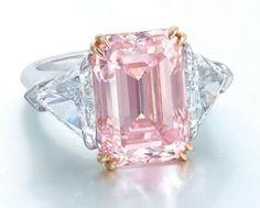 A superbA superb carats rectangular-shaped fancy intense pink Type IIa diamond and diamond ring. carats rectangular-shaped fancy intense pink Type IIa diamond and diamond ring. Most Expensive Jewelry, Pink Diamond Ring, Gold Ring, Silver Ring, Pink Sapphire, Harry Winston, Big Jewelry, Gold Jewellery, Silver Jewelry