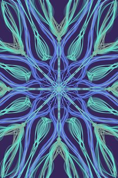 Mandala art using Mirrorgraph application, indian style, blue, central, symmetrical