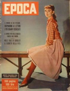 "EPOCA, edition of November 01, 1955. The actress Audrey Hepburn photographed by Pierluigi Praturlon at the Cinecittà Studios, on Via Tuscolana, in Rome (Italy), during a break in the filming of ""War and Peace"", in October 1955.Audrey was wearing:Shirt: Edith Head (of cotton in a shade of red with plaid in white, created at Audrey's request specially for her personal wardrobe, in 1954).Notes: Her hairstyle was done by Grazia De Rossi and her makeup by Alberto De Rossi (Grazia's husband)."