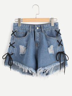 Shorts en denim de borde crudo con ojete con cordón lateral-Spanish SheIn(Sheinside)