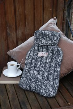Hand knitted pure wool hot water bottle cover. Scottish made with luxurious cosy wool.