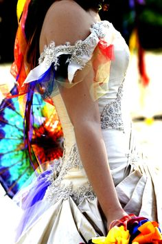 rainbow wedding dress, really like this.no lie! Wedding Gowns, Our Wedding, Dream Wedding, Tacky Wedding, Wedding Colors, Wedding Styles, Rainbow Wedding Dress, Trends, Just In Case