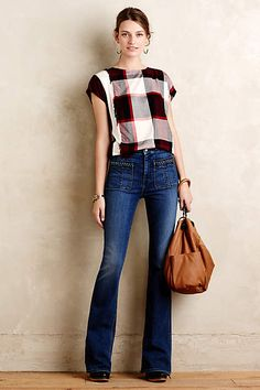 7 For All Mankind Braided High-Rise Flare Jeans - anthropologie.com