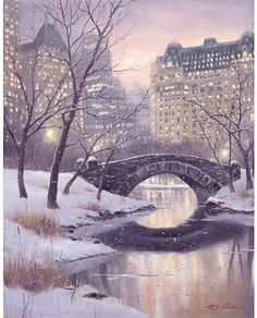 New York City Central Park Art Print of Oil by PineBrookStudio