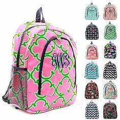"Personalized Backpack 17"" Monogram Bookbag Book Tote Bag School Kids Boys Girls in Clothing, Shoes & Accessories, Women's Handbags & Bags, Backpacks & Bookbags | eBay"