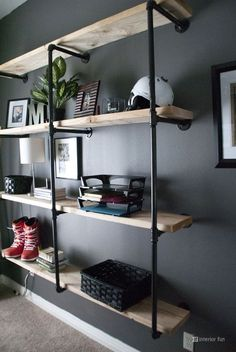 Interior Fun: Update: Manly and Inspired Office Office DIY Decor, Office Decor, Office Ideas Original article and pictures take . Regal Industrial, Industrial Shelving, Industrial House, Industrial Interiors, Shelving Brackets, Industrial Style, Industrial Lighting, Industrial Office, Industrial Pipe