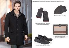 Men's Savile Row Cashmere Coat with Lambskin Leather Trim by Overland Sheepskin Co. (style 20036)