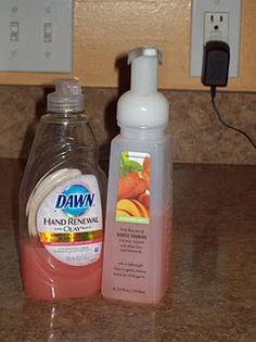Make your own foaming soap - First you need a Foamy Hand Soap Bottle. I like the ones from Bath & Body Works. They seem to last a little longer than the other brands but any will work. Fill the Hand Soap Bottle half full with water and then add 2-3 tablespoons of any liquid soap. Fill the rest of the way with water and gently shake. That's it and it will make your soap last twice as long!
