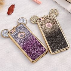 Luxury Gradient 3D Mouse Ears Cases for iPhone 6 6S Plus Cover Coque Soft TPU Plating Frame Sequins Cover for iPhone 6S Plus