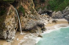 McWay Falls, California -  One of my favourite stops on the Big Sur drive was at Julia Burns Pfieffer State Park where we looked down at McWay Falls. What a pretty little spot! I'd love to spend more time exploring this beach. http://annemckinnell.com/2017/05/07/big-sur-california/ #travel #california