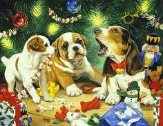 Linda Picken Christmas Three Dogs