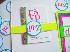 Neon and Sparkle Bat Mitzvah Invitation by PlainJaneGraphics
