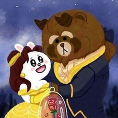 ❤ Beauty and the Beast~~~~ 。 野獸Brown幾靚仔,美女Cony好身材 XD ===================== #brown #cony #line #ライン #라인 #linefriend #linefriends #熊大 #兔兔 #可妮兔 #布朗熊 #ブラウン #コニー #브라운 #코니 #love #hongkong #couples #sweet #happy #funny #smile #beauty #beast #movie #cartoon