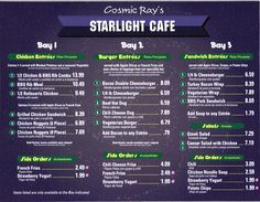 cosmic rays disney menu | Magic Kingdom - Cosmic Ray's Starlight Cafe