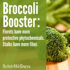 #Broccoli Booster: Ounce for ounce, the florets and stalks deliver equal amounts of key nutrients. But the florets have a higher concentration of protective phytochemicals; the stalks have more fiber.  http://www.berkeleywellness.com/healthy-eating/nutrition/article/broccoli-stalks-vs-florets?ap=2012 #didyouknow
