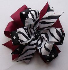 Hair Bow Garnet and Black  Black Zebra Ribbon by ThePalmettoBaby, $5.00
