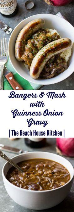Bangers & Mash with Guinness Onion Gravy - Irish recipes - Sausage Recipes, Pork Recipes, Cooking Recipes, Recipies, Onion Recipes, Yummy Recipes, Guinness Recipes, Onion Gravy, Sausage Gravy