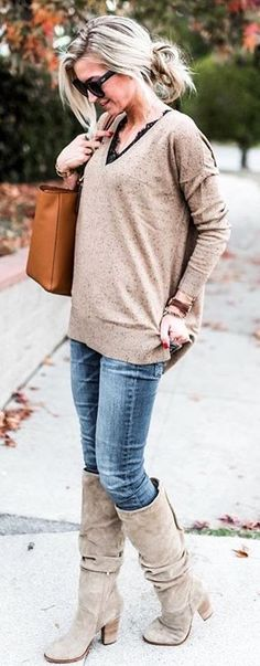 #winter #fashion / Tan Knit + Skinny Jeans + Tan Suede Boots + Camel Leather Bag