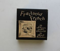 """Vintage 1950s Midcentury """"Fractured French"""" Gag Gift / Joke Gift // Silver Aluminum Ashtrays // Coasters // Cocktail Bar // Mad Men // Funny by thebelovedbear on Etsy https://www.etsy.com/listing/485017309/vintage-1950s-midcentury-fractured"""