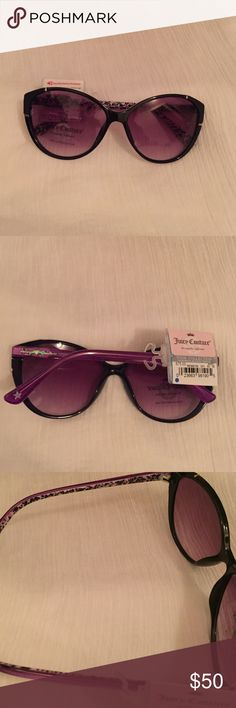 Juicy Couture Posh Collection Sunglasses Black frames, purple tinted lenses.  Outside of sides of frames is purple, inside multi colored print.  Handmade acetate temples.  No Trades Juicy Couture Accessories Sunglasses