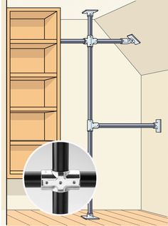To overcome an odd configuration or sketchy walls, build a scaffold using commercial Speed-Rail fittings (hollaender.com) and closet rods. Use them to make a system supported by vertical rods screwed to the ceiling and floor or to make freestanding racks. The result looks like other industrial-pipe fixes but does them one better: System options include connectors with swiveling joints that can handle awkward angles for just a few dollars.