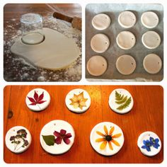 Use pressed flowers for beautiful craft ideas - Making mobile elements for flowers from salt dough or clay - Diy Crafts To Do, Clay Crafts, Crafts For Kids, Dried And Pressed Flowers, Pressed Flower Art, Flower Crafts, Diy Flowers, Wedding Flowers, Fleurs Diy